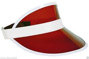 1980s UNISEXE VISIÈRE POKER CHAPEAU GOLF NÉON CERF NUITS POULE DÉGUISEMENT – Rouge, One Size