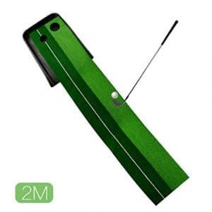 A-szcxtop 2m Intérieur de golf Motif Practise Tapis de putting double trous Outil d'entrainement pour Putting