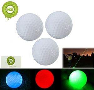 Bcony 3 pièces LED Balles de Golf pour Nuit, vert bleu rouge