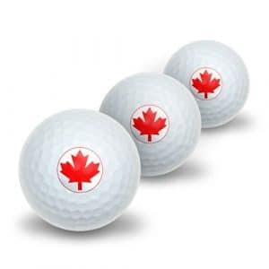 Drapeau Canada Feuille d'érable Forme de Balles de golf Lot de 3