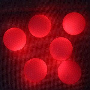 Extsud Lot de 6 pcs LED Balle de Golf Lumineuse Brille dans la Nuit pour Entraînement de Golf (Rouge)