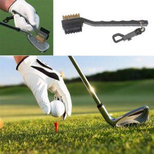 Hrph Fil de laiton 2 côtés Nylon Golf Club Brush Groove Cleaner Kit Noir