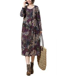 Vogstyle Femme Pull Cardigan Vintage Manches Longues Ample en Coton/Lin Style-2 Violet M