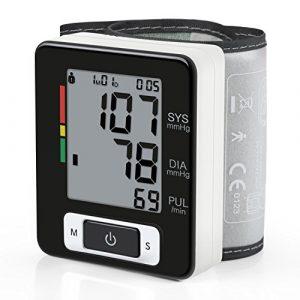 Amzdeal Tensiomètre électronique de poignet avec Grand précision automatique, Tensiomètre numérique avec détection de la fréquence cardiaque en lectures de Magasins de Mémoire de 90 – Noir