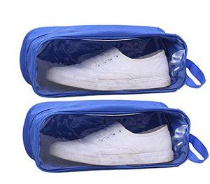Ciaoed PVC Voyage Chaussures Sac Imperméable Pochette de Stockage de Chaussures Respirant Bleu 2 Pièce