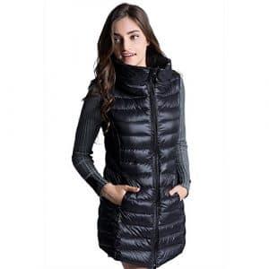 Femme Veste Doudoune Sans Manch Ultra Légèree Duvet Zippée Hiver Gilet Matelassée pour Dames Noir XL
