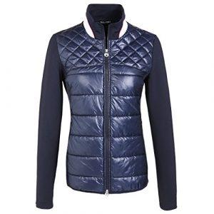 GOLFINO Veste de golf matelassée pour femme avec des manches légèrement Bleu L