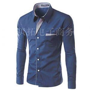 Mens – Outillage Mâle Coréen Slim Solide Chemise De Fer Occasionnel Des Chemises Pour Hommes,L,Bleu Foncé,8012 -,Bleu Foncé