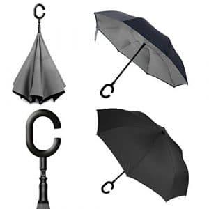 Parapluie repliable à l'épreuve du vent, à 2 couches en forme de C et mains libres, et protection ultime contre la pluie et les vents forts. Performance optimale, avec bouton poussoir métallique, un boîtier plus large et support autonome lorsqu'il n'est pas utilisé., gris