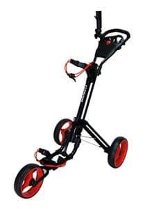 QWIK-FOLD Chariot À 3 Roues Chariot De Golf À Pousser À Tirer – Frein Au Pied – Une Seconde Pour L'Ouvrir Et Le Fermer! (Noir/Rouge)