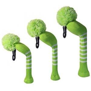 Vert citron avec bandes blanches, Long cou, en Golf-Couvre-bois à pompon-Lot de 3 (pour Driver 460cc, 1 bois de Parcours, 1 hybride, avec étiquette Numéro 1 3 5 ###(,