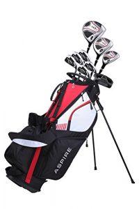 Aspire Ensemble Complet Sd1 De Clubs De Golf Pour Hommes Des Fers 6-Pw En Acier Inoxydable, Un Putter, Un Sac Trépied, 3 Clubs À Angle De Lancement Élevé