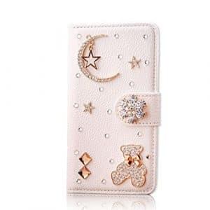 Coque Samsung Galaxy S8, bijoux Bling Cristal Strass Flip PU Cuir Coque, 3d Diamant Deco [Boucle magnétique] avec support pour carte Portefeuille pour Samsung Galaxy S814,7cm, Lucky Bear