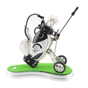 crestgolf Mini Stylo de bureau Sac de golf avec support, Vert, horloge et 3stylos en forme de club de golf, blanc/noir