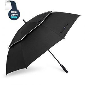 Grand Parapluie Automatique de Golf – Solide Homme Femme Taille 157,5 cm Anti UV Anti Retournement Tempête Vent(Noir)