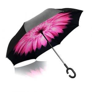 iTrunk Parapluie Pliant à Double Couche Avec Poignée Mains Libres en Forme de C – Protection UV, à épreuve du Vent, Imperméable à l'extérieur et Utiliser pour Voiture Rose Daisy