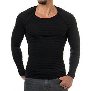 Juleya Basic Sweatshirt – Hommes Garçons Col rond Sweatshirt À Manches Longues Chemise Pull Tricoté Chemise Sport Tops pour l'Automne Hiver