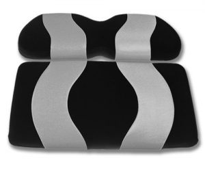 Madjax WAVE 1994-Up Black/Silver Two-Tone Front Seat Cover for EZGO TXT and RXV Golf Carts by Golf Cart King