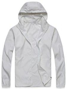 Mochoose Femme Légère Packable Veste de Sport à Capuche Protection UV Coupe Vent Imperméable à Séchage Rapide(Blanc,XL)