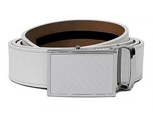 NEW Nexbelt Go-In! Golf Series Cut to Fit Ball Marker Carbon White Belt by Nexbelt
