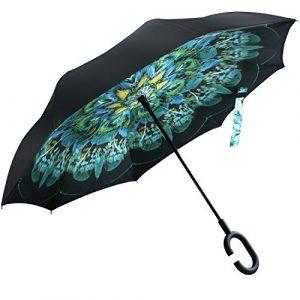 Parapluie Inversé, Opret Parapluie Reversible Parapluie Coupe-vent Couche Double ,Idéal pour Voyage et Voiture pour Les Femmes et Les Hommes (6 couleurs)