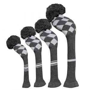Scott Edward couvertures de tête de club de golf Lot de 4Gris Blanc Argyles, fil Acrylique Double-layers en tricot, avec rotatif Nombre balises