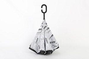 SKYLINK Parapluie Creative Blanc Coupe-vent Envers à debout à l'intérieur Double Couche Symétrie Inversée Motif Parapluie et Pluie Parapluie Avec Protection en Forme Sans poignée, Best Compact Paraplu