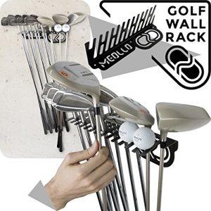 Support mural rangement pour clubs de golf (100% Acier) (Noir, One size)