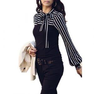 vogholic femmes Casual T-shirt à manches longues rayé pour femme de marin avec nœud papillon