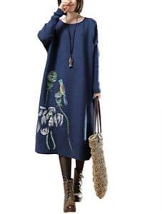 Vogstyle Femme Pull Ample Manches Longues Vintage Fluide Style-1 Bleu