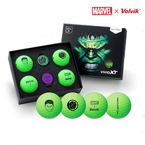 Volvik X Marvel Set de 4 Balles de Golf et Marqueur de balle (Marvel Hulk 4 balls)