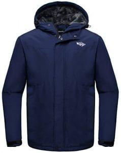 Wantdo Homme Anorak avec Polaire Doublée Veste de Ski à Capuche Montagne Bleu foncé X-Large