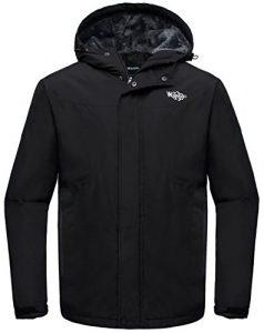 Wantdo Homme Anorak avec Polaire Doublée Veste de Ski à Capuche Montagne Noir Medium