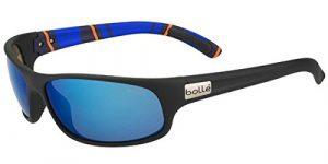 Bollé Anaconda Lunettes de soleil Homme Matte Black/Stripes Polarized Offshore Blue Oleo AR Taille M/L