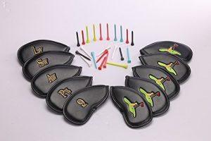 Club de Golf Fer Couvre Tête de–de haute qualité en cuir PU de Golf Fer Couvre–Store brodé 3D Club de golf Fer Couvre sur les deux côtés–Convient pour droitier/gaucher Mesdames et Messieurs de Clubs