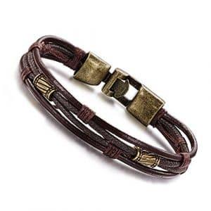 Cybernova Attrayant Cuir tressé Corde avec boucle en alliage de bronze Bracelet pour homme