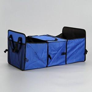 Olayer Coffre de voiture Sac de rangement Tissu Oxford pliant Truck Boîte de rangement Boîte de rangement organiseur de sac de rangement avec sac isotherme, bleu