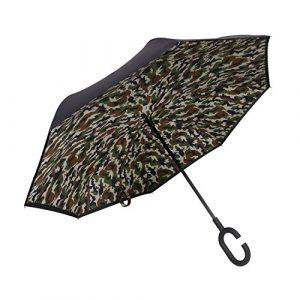 Plemo Parapluie Canne Inversé Camouflage Militaire Autoportant et Double couche tissu 190T, Grande Taille et Mains Libres Poignée C Idéal pour Voiture, Voyage et Shopping, Noir IU-03