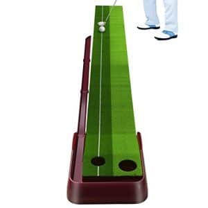 Tapis de Putting, LESHP Tapis d'Entraînement de Golf avec Base en Caoutchouc et Retour de Balle Automatique pour l'Exercice à l'Intérieur et l'Extérieur, 3000mm (Base Rouge)