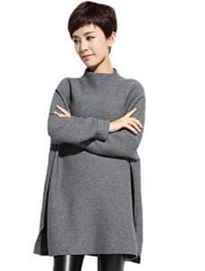 Vogstyle Femme Couleur Unie en Tricot Manches Longues en Vrac Pull-over (Style 4 grey, Taille unique)