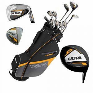 Wilson Ultra Kit de golf complet pour homme et sac trépied – Clubs en graphite – Ensemble complet avec fers, bois, drivers