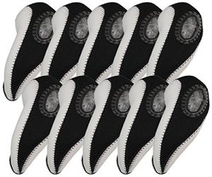 Elixir Golf Unisex Iron Club Head Covers (10-Piece), White/Black by Elixir Golf