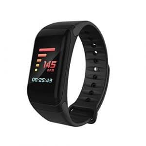 Fitness tracker, moniteur de fréquence cardiaque tracker étanche Sport Bluetooth Fitness tracker Smart Bracelet de montre coloré d'écran, noir