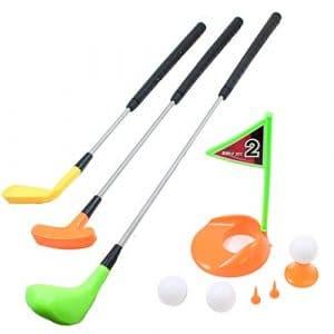 Kit de golf pour enfants Mini Golf 3Golf extensible Clubs de Golf 3balles de golf et drapeau de marquage