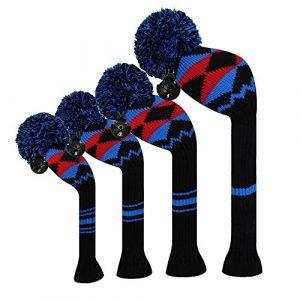 Scott Edward Noir Bleu Rouge Alien Planet Motif Housses de tête de club de golf, fil Acrylique Double-layers en tricot, numéro de rotation avec étiquettes, Lot de 4,