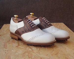 Tollis Shoes , Chaussures de golf pour homme Multicolore bianco e marrone Uomo