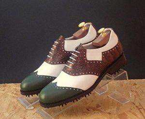 Tollis Shoes , Chaussures de golf pour homme Multicolore bianco, verde e marrone Uomo