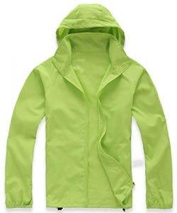 Mochoose Femme Légère Packable Veste de Sport à Capuche Protection UV Coupe Vent Imperméable à Séchage Rapide(Vert Jaunâtre,S)