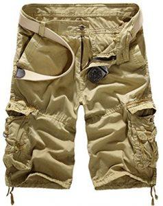 Mochoose Homme Pantalons Courts Coton de L'été Vintage Cargo Travail Casual Camouflage Shorts Multi Pockets Sport et Loisir(Kaki,32)