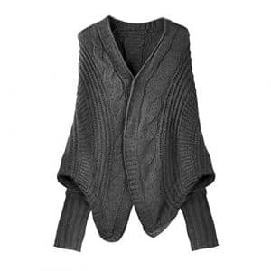 TOOGOO(R) Cardigan Tricote Manteau en forme d'Aile de Chauve-Souris Femme Casuel Lady Casual Lache Sweater Veste Laine Top-Bis